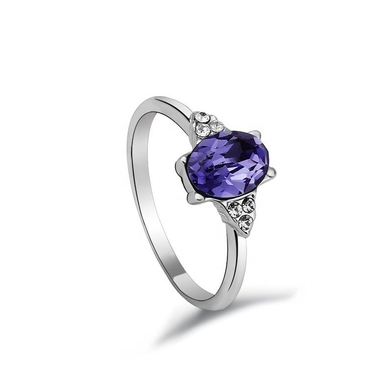 OUXI amethyst kristall diamant ring in 925 sterling silber 40100