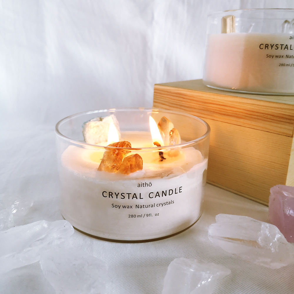 crystal candles luxury scented candle soy wax glass jar gift box candle