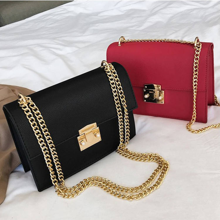 Lock Chain Shoulder Messenger bags Elegant Female Small Square Bag leather bags women handbags ladies