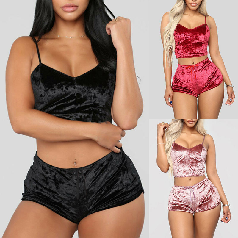 Sexy Lingerie Sets Two Pieces Bra Sets Velvet Underwear Ladies Intimates Tops And Pants Sleepwear Sets Clothing Sleepwear