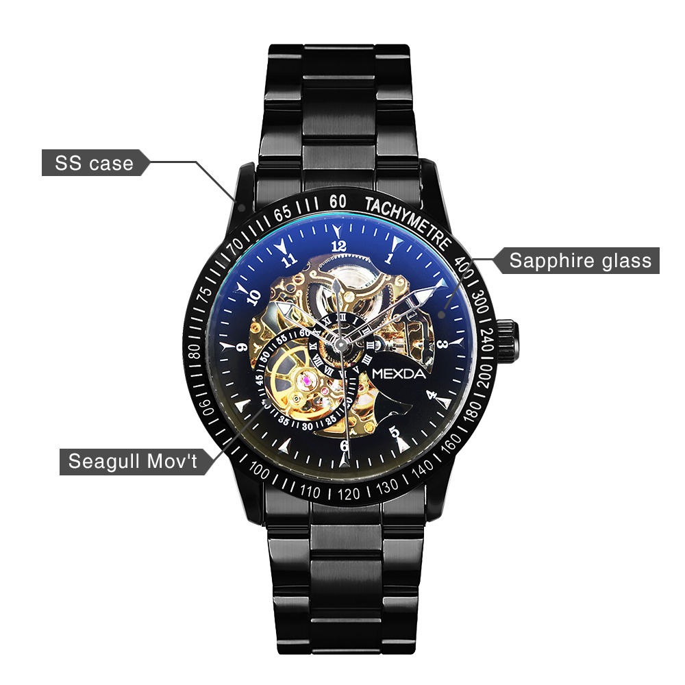 2021mexda brand New Design Luxury Automatic 5ATM Waterproof Stainless Steel band Mechanical SKELETON Wrist Watch Men