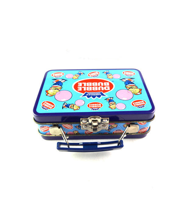 Wholesales cartoon printed lunch storage metal tin box rectangular shaped handle gift tin case with lock