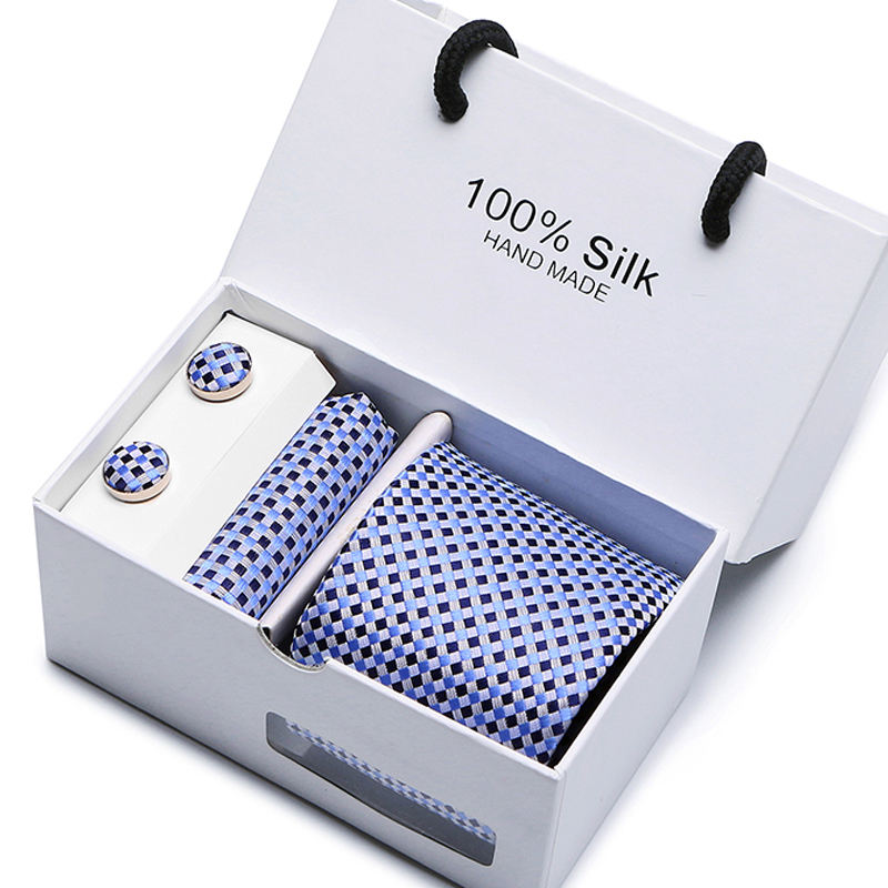 Gift box Solid Mens Skinny Ties Fashion Plain Gravata Ties Jacquard Woven Silk Ties for Mens Wedding Suits Cravate