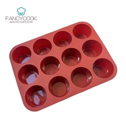 Custom non stick 12 cups silicone round cupcake muffin pans for baking