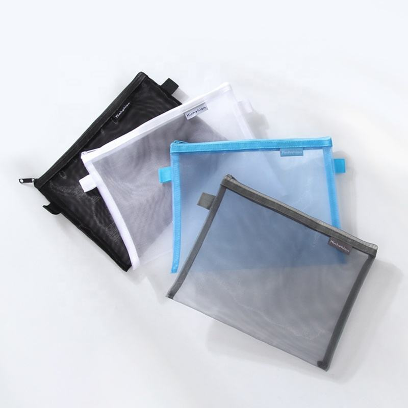 New design stationery factory wholesale custom OEM mesh nylon pouch waterproof pencil bag