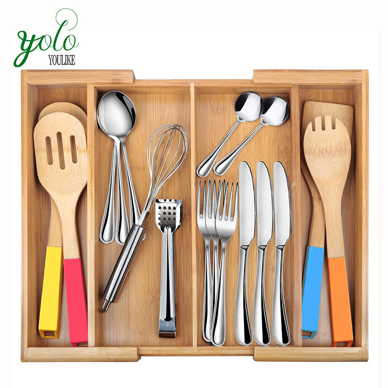 Expandable 4 Compartments Kitchen Utensil Holder,Bamboo Cutlery Tray For Knives Forks Accessories