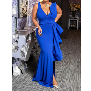 Sexy V-Neck Falbala Sleeveless Long Asymmetrical Lady Evening Dresses
