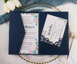 Luxurious pocket Dark Navy Blue wedding invitation card Laser Cut trifold invitations greeting Gift Cards For party birthday
