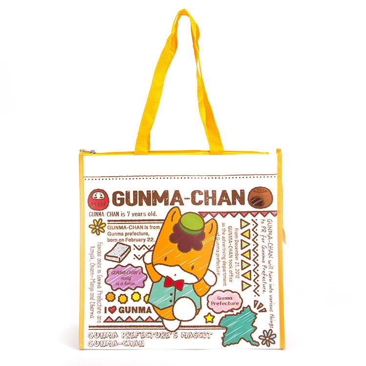 Foldable Market Bag Custom Printed Children Cartoon Foldable Non Woven Bag With Zipper