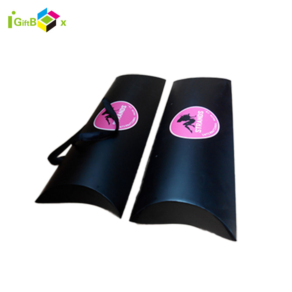 Large High Quality Custom Logo Foldable Satin Ribbon Handle Glossy Lamination Wig Packaging Pillow Box Hair