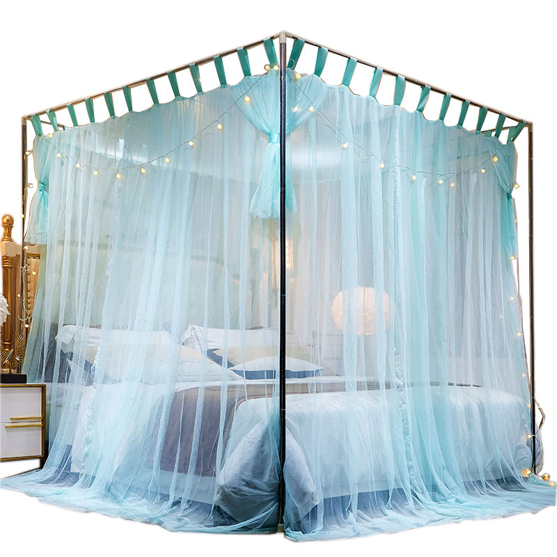Three doors floor type traditional bed mosquito net folding mosquito net with bracket