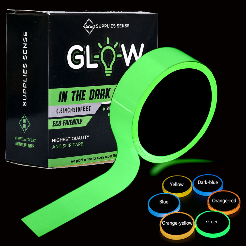 Glow in The Dark Tape-15mm*3m Luminous tape Halloween/Luminescent Emergency roll Safety Egress Markers Stairs, Walls,exit Sign