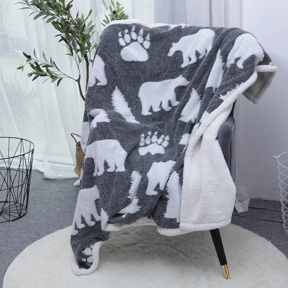 Wholesale Cozzy life Super Soft Vintage Fluffy Christmas Fleece Sherpa Throw Blanket