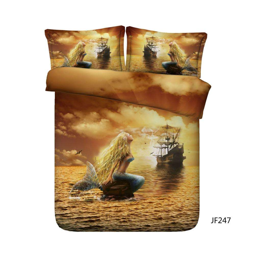 Beautiful Mermaid and Pirate Ship 3d bed sheet set