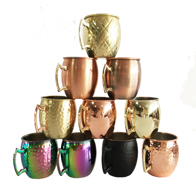 Drinkware Professional wein Cup Vodka Mugs Stainless Steel Copper Moscow Mule bier wodka Hammer whiskey cup
