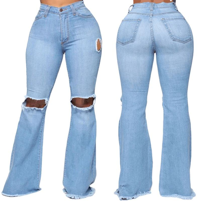 New fashion hole ripped denim flare pants wide leg women high bell bottoms jeans
