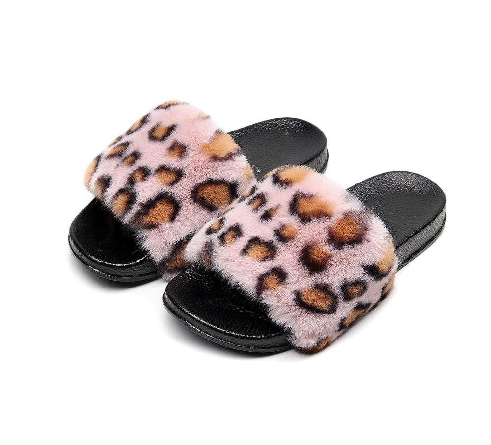 New fur fox slippers with leopard for ladies in summer can be customized