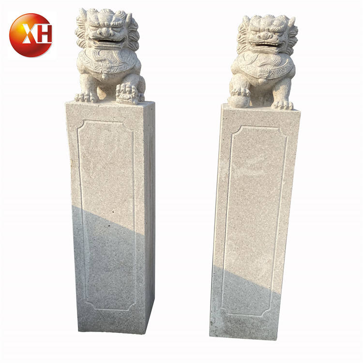 Garden Granite Stone Hitching Post Lion Statue Animal Sculpture Horse Post Tied MaShi For Home Landscaping Outdoor Decoration