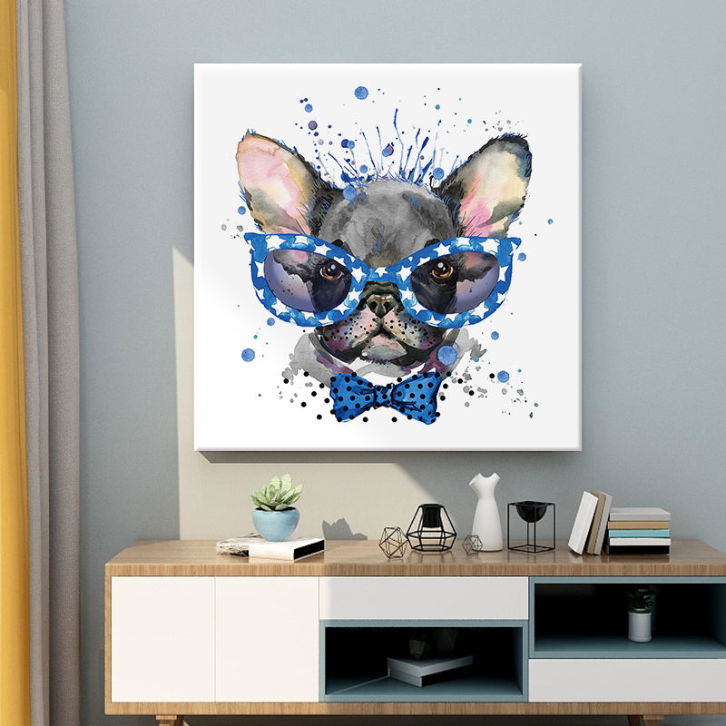 hot sale modern cartoon dog handmade animal oil painting canvas print wall art for living room