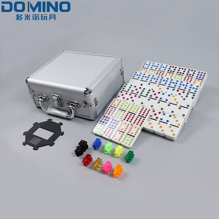 91 Domino Kleur Dot Trein Mexicaanse Domino Game Set In Een Aluminium Case