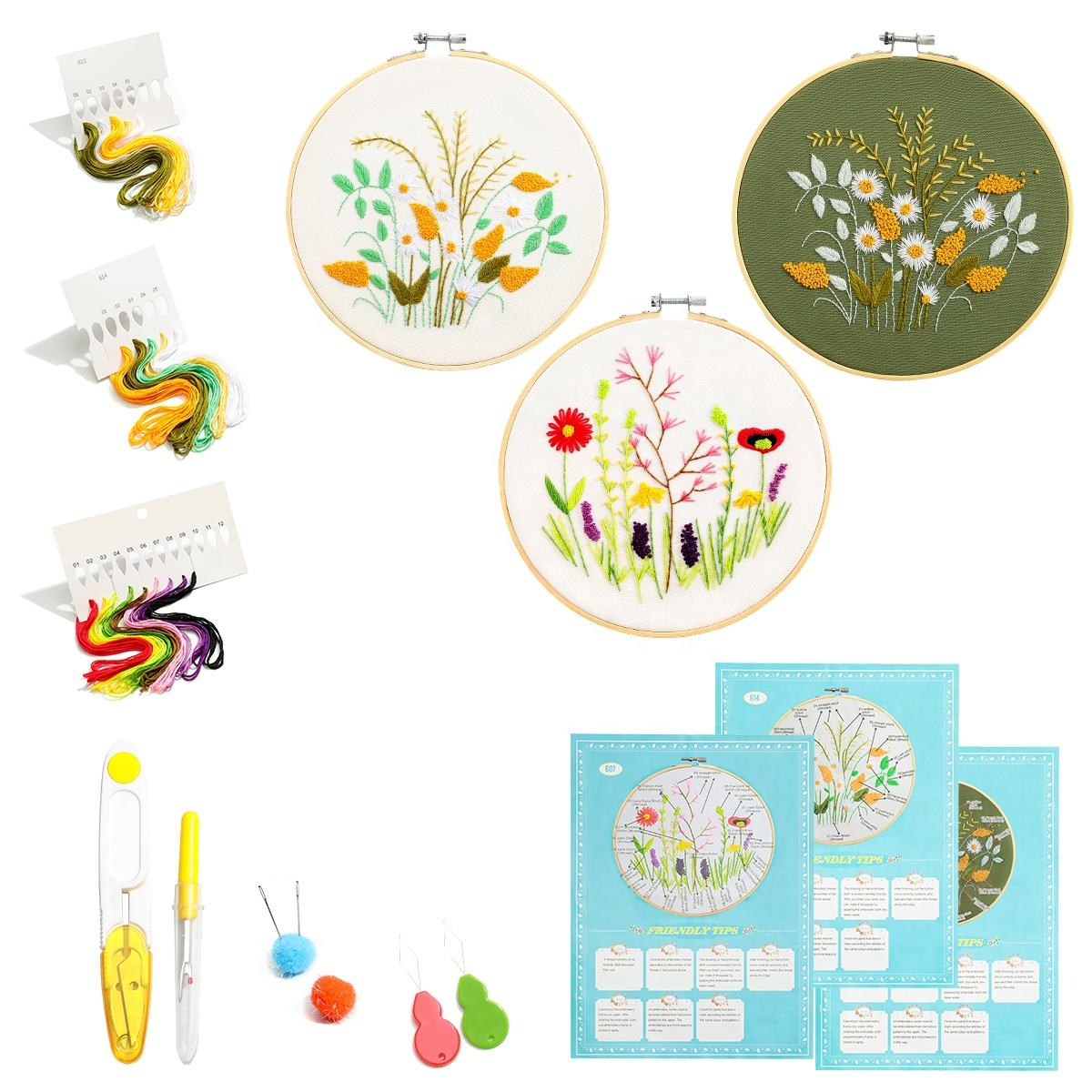 wholesale European embroidery embroidery diy handmade creative flower embroidery cross stitch beginner kit
