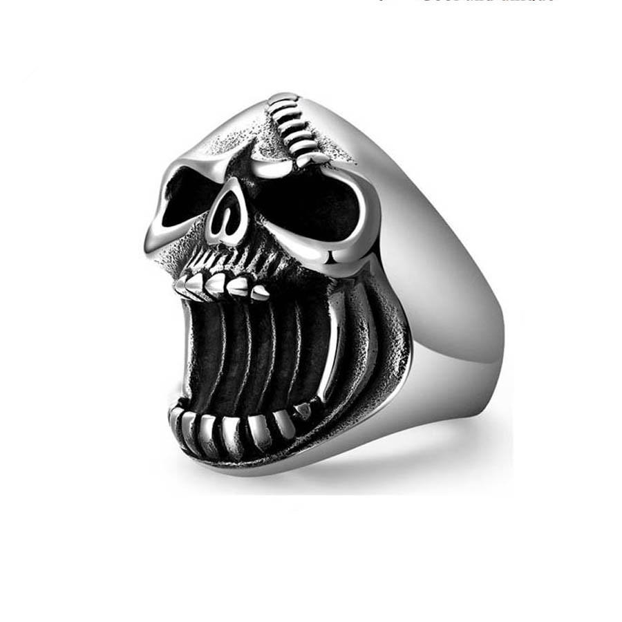 Fashion Men Jewelry Skull Rings Punk Vintage Scar Jaw Stainless Steel Ring For Men Accessoires Beer Bottle Opener