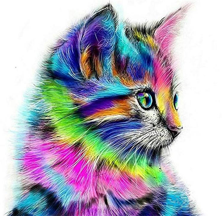 Home decor wall art animal printing canvas custom 5D full drill DIY resin colorful cat diamond painting