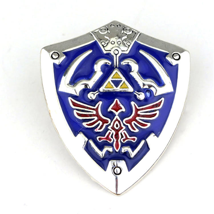 Popular Game The Legend of Zelda Series Brooch Mini Blue Shield Shape Enamel Lapel Brooch Great Accessories For Men