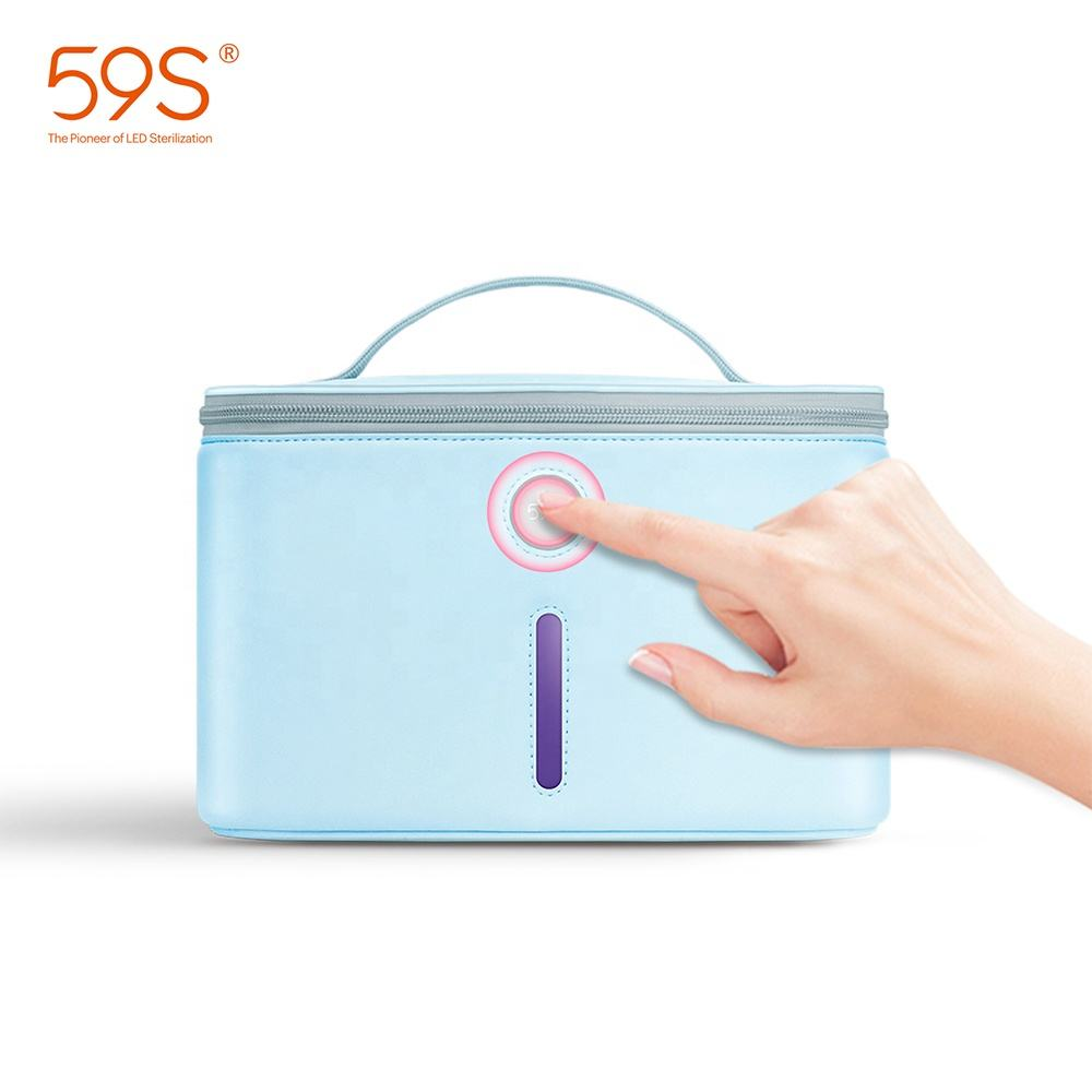 59S 2020 High Quality Women Makeup Bag Small Travel Cosmetic Bag with UVC Germicidal Lamp