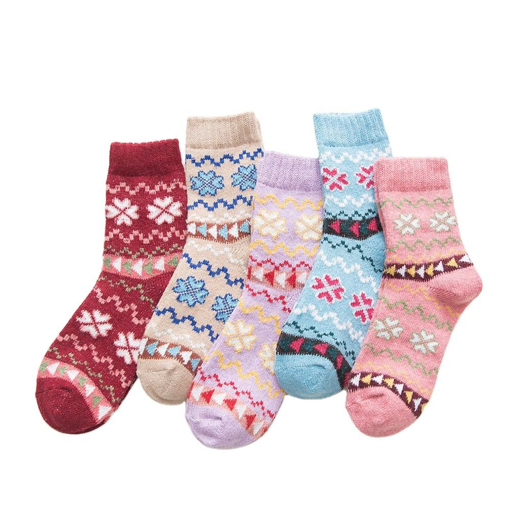 Autumn and winter style thickened warm women's wool socks thick needle women's socks cross flower socks