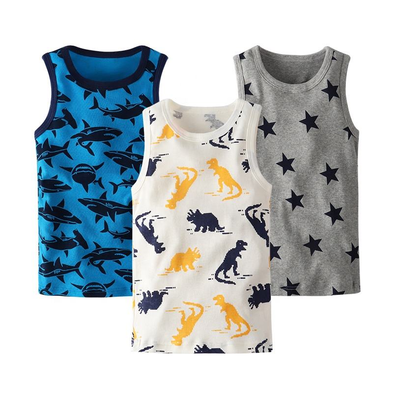 Cheap Outerwear Baby summer vest High Quality Cotton boys vest Simple boys printing O-Neck vest