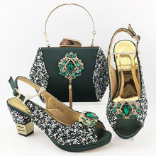 Italian ankara beads low heel shoes and bags for nigeria party S19