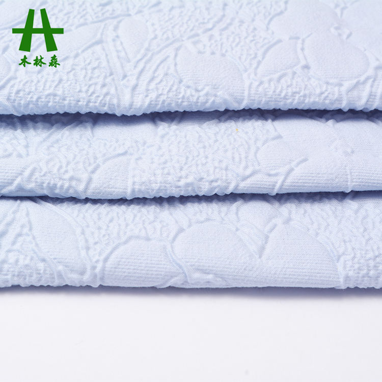Mulin sen Textile Großhandel Warp Knitted Bonding Plissee Blue Plain Dyed Cotton Polyester Stoff