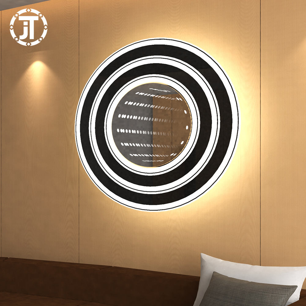 3D kreative Tunnel <span class=keywords><strong>lampe</strong></span> LED Spiegel Licht Kreis Smart Led Magic Infinity Spiegel Badezimmer beleuchtet 3D Wandbehang Runde Jitai