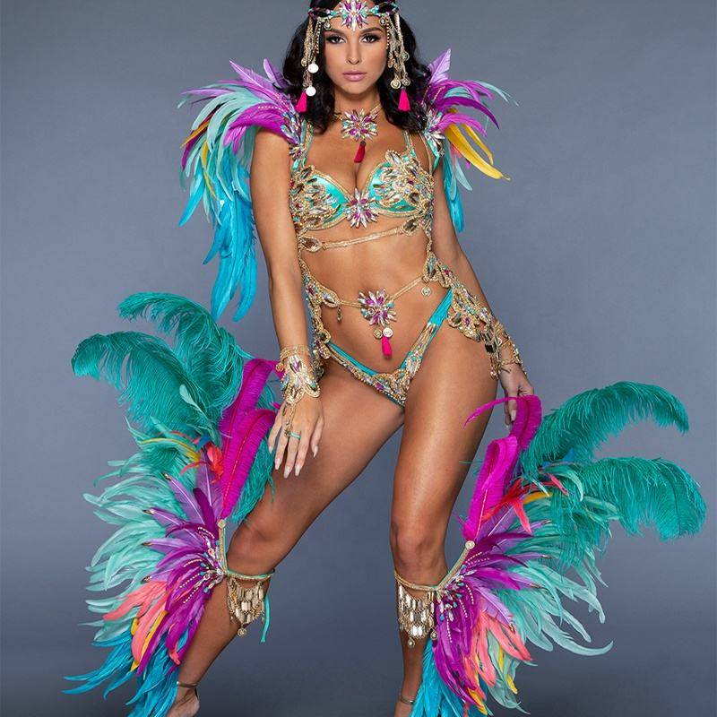 DIY sexy erotic brazil caribbean carnival theme party feather costumes for women made in china