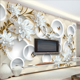 Wholesale embossed 3D 5D 8D flower design wallpaper living room sofa background wall murals