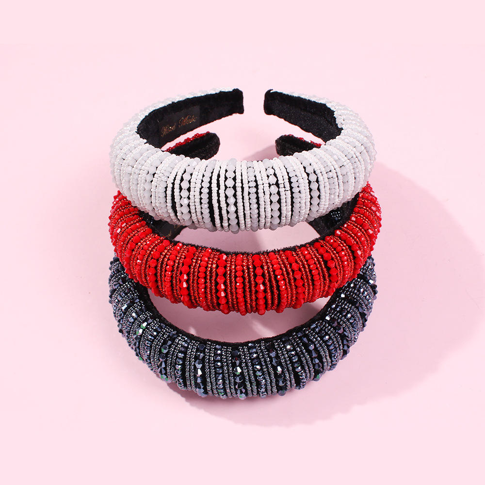 New Arrival Colorful Baroque Full Bead Headband For Women Luxury Shiny Padded Red Black White Headband Hair Accessories