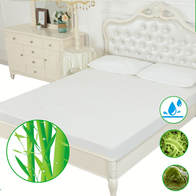 Anti-Bacteria Bamboo fiber terry bed mattress protector waterproof queen fitted style