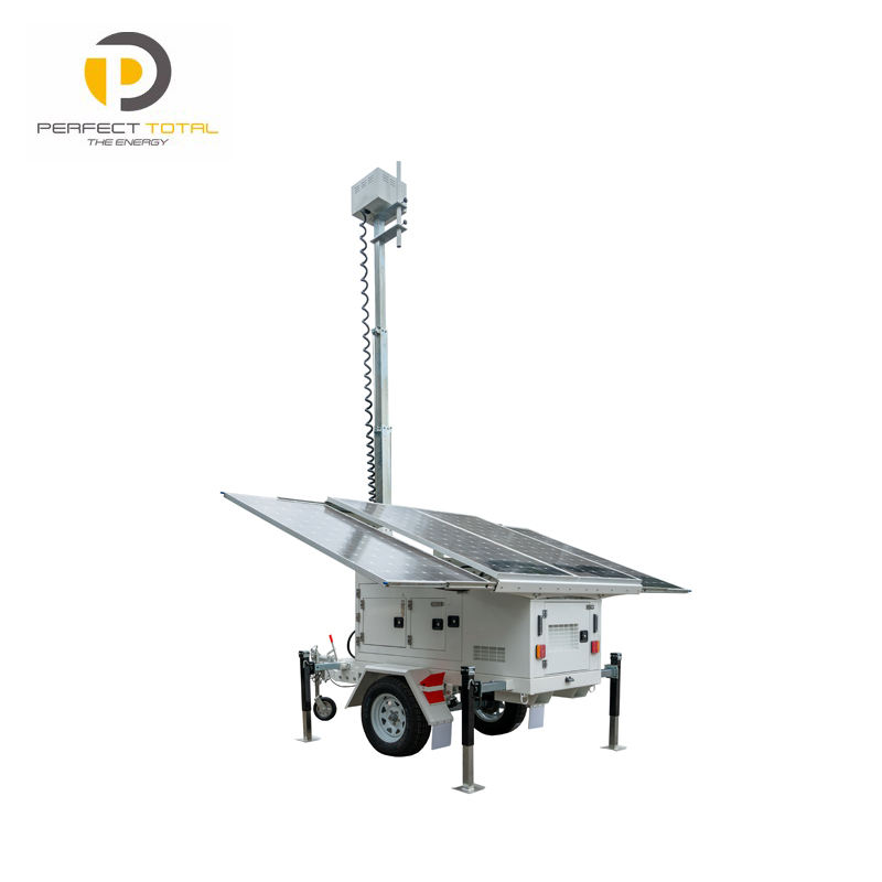Mobile Solar CCTV security Trailer for camera for light tower with back up generator