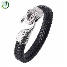 Personality Men's Stainless Steel Snake Buckle Genuine Leather Braided Bracelet