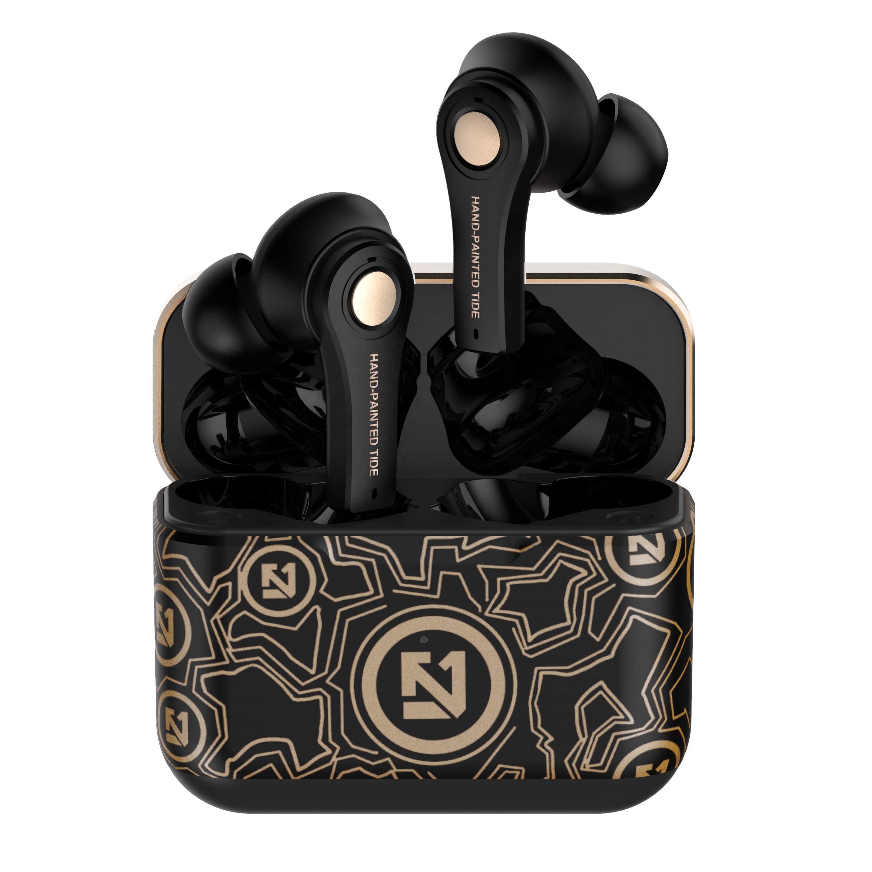 TS-100 LULE Fashionable Black Bluetooth 5.0 TWS Wireless Earphone Graffiti Hand-painted Handsfree Earbuds Sport Waterproof