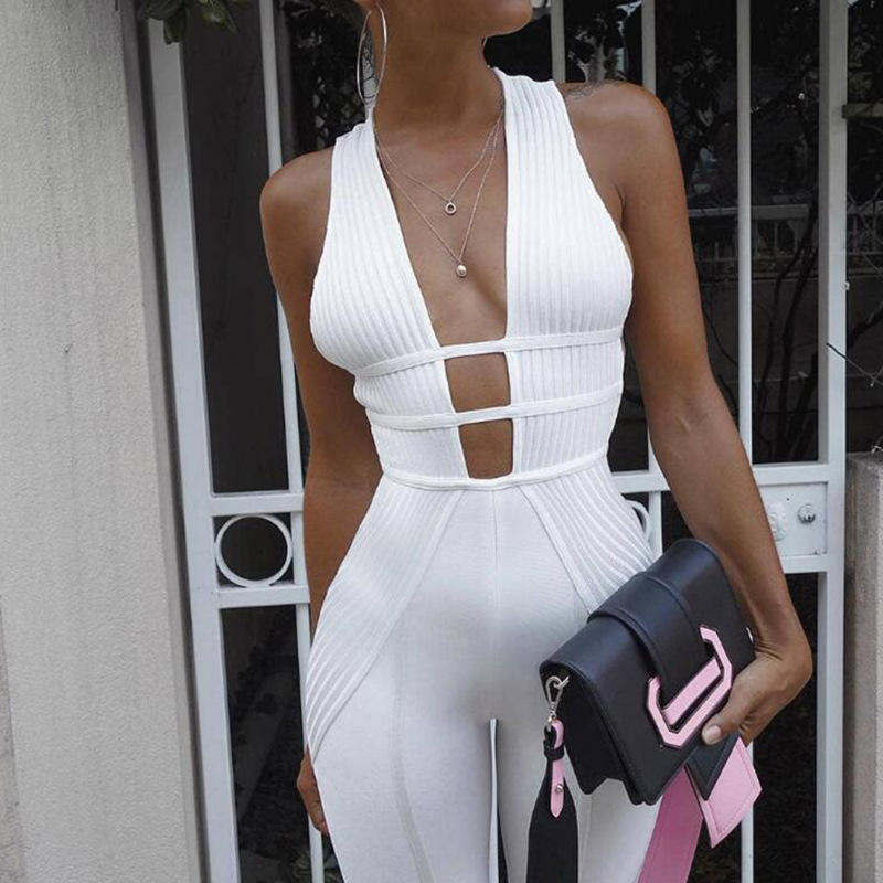 Custom Cross Back Hot Sale Evening Rompers Hollow Out Womens Sexy Ladies Jumpsuit