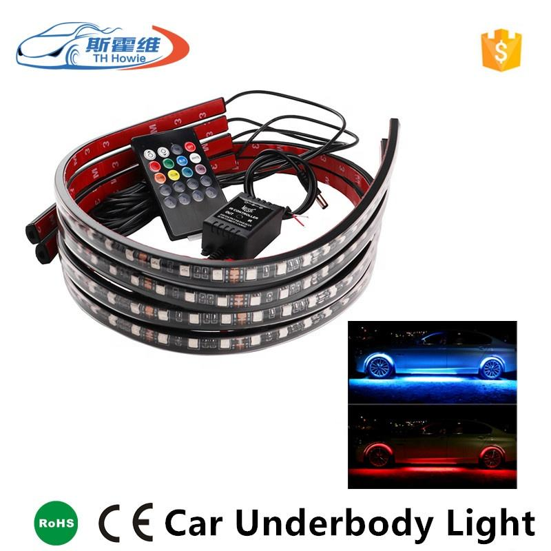 Car Led RGB Underbody Light Strip With Remote Music Sound Control Under Tube System Neon Lamp Auto Atmosphere Light Kit