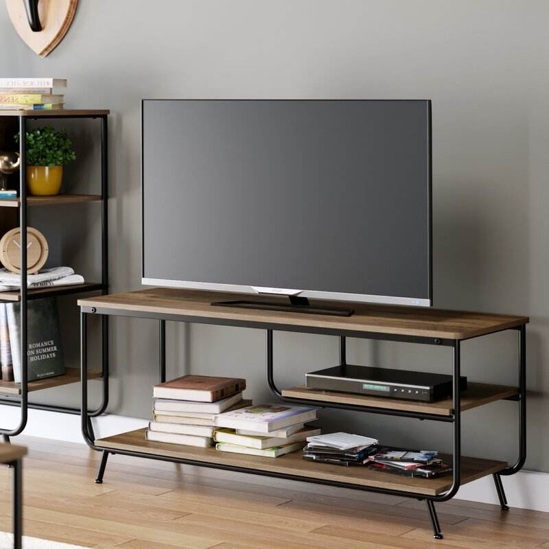 Industrial style sturdy 3-tier wood TV stands with metal frame