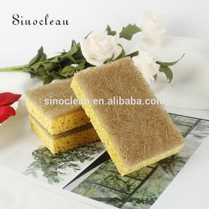 wholesale natural scouring pad biodegradable coconut sponge household mesh wash cleaning cellulose sponge products for kitchen