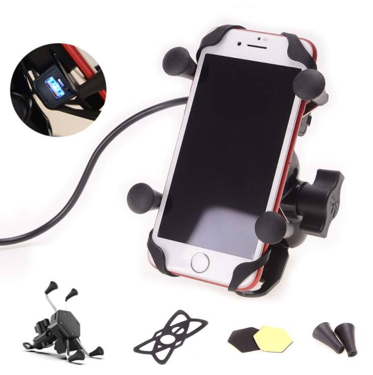 Universal Motorcycle Cell Phone Mount Holder Waterproof with USB Charger 360 Rotation for iPhone Samsung GPS ATV Scooter