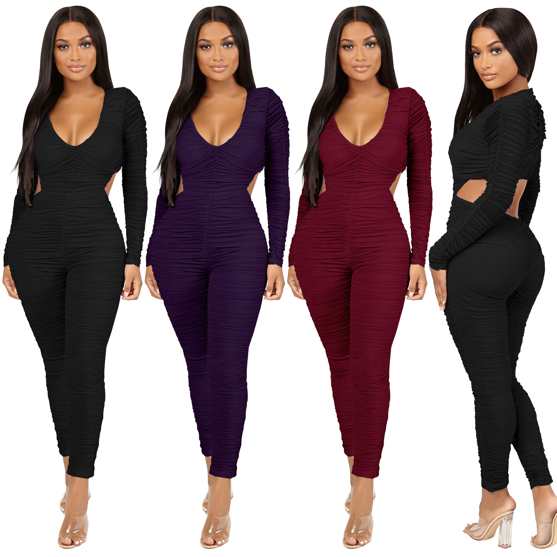 Ruches Hollow Out Mode Diepe V Sexy Jumpsuit voor Vrouwen Bodycon Winter Herfst Fall Club Nachtjapon Avond Sexy Jumpsuit RS00091