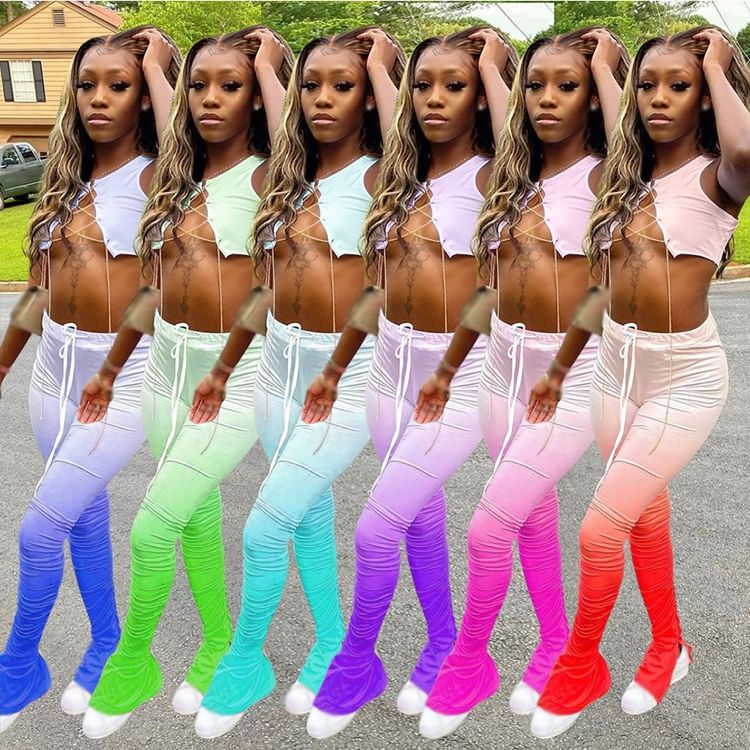 2020 Trendy Gradient Color Women Sexy Two Piece Set Stacked Trousers Pants With Short Crop Top