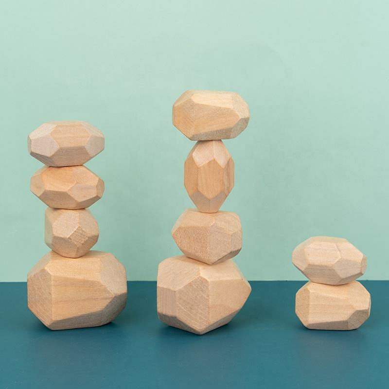 10pcs Natural Colorful Wooden Stones Toy Educational Diy Wooden Blocks Stacking Game For Children