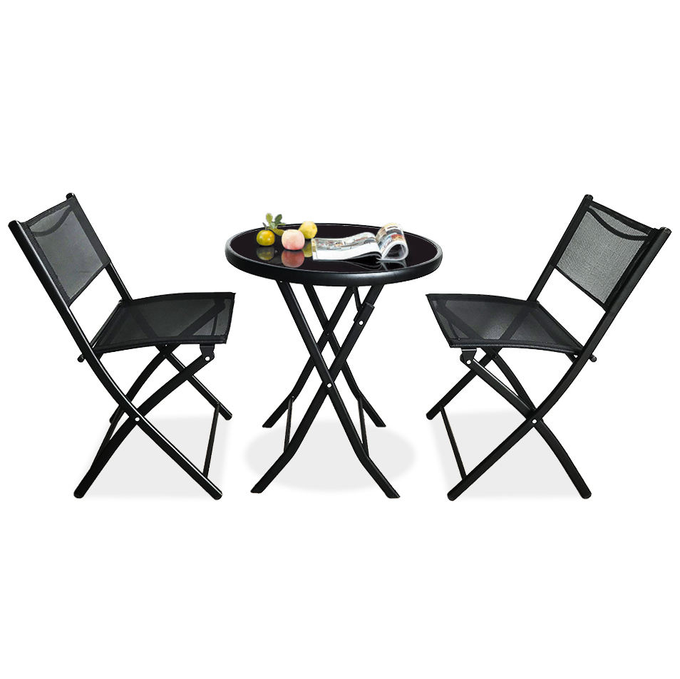 3 Piece Cheap Wholesale Modern Metal Iron Folding Foldable Outdoor Chairs Table Garden Furniture Balcony Patio Bistro Set